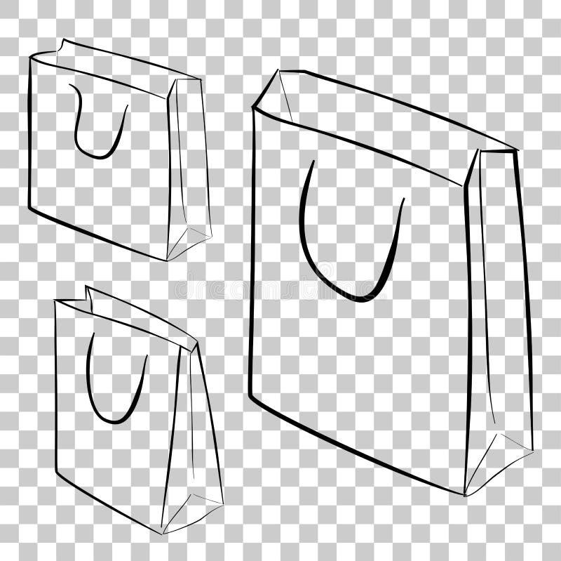 Eenvoudige schets van het winkelen drie zak bij transparante effect achtergrond royalty-vrije illustratie