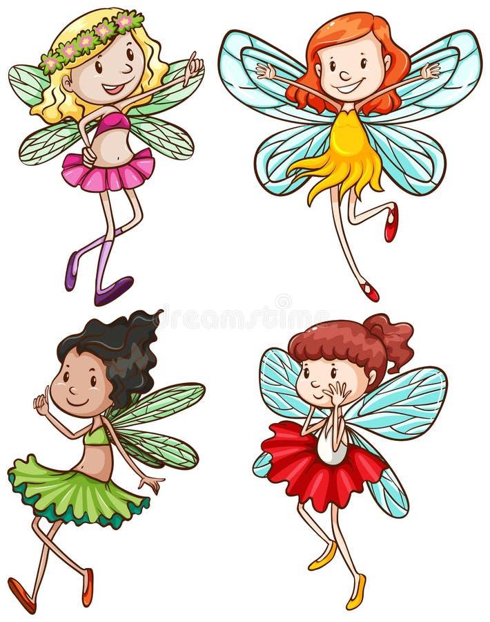 Eenvoudige schetsen van feeën royalty-vrije illustratie