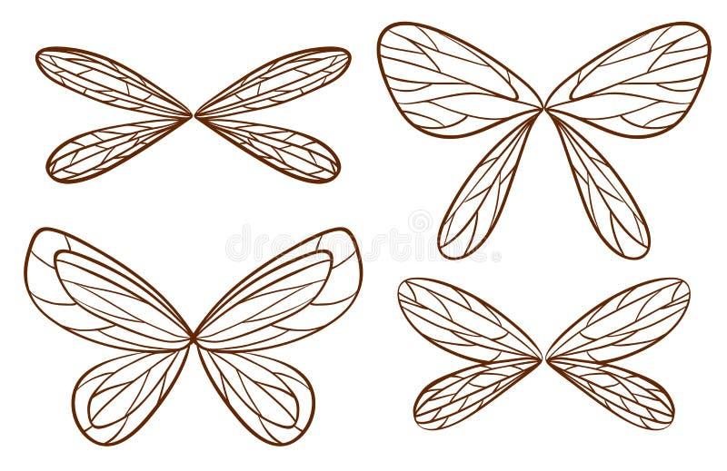 Eenvoudige schetsen van feevleugels stock illustratie