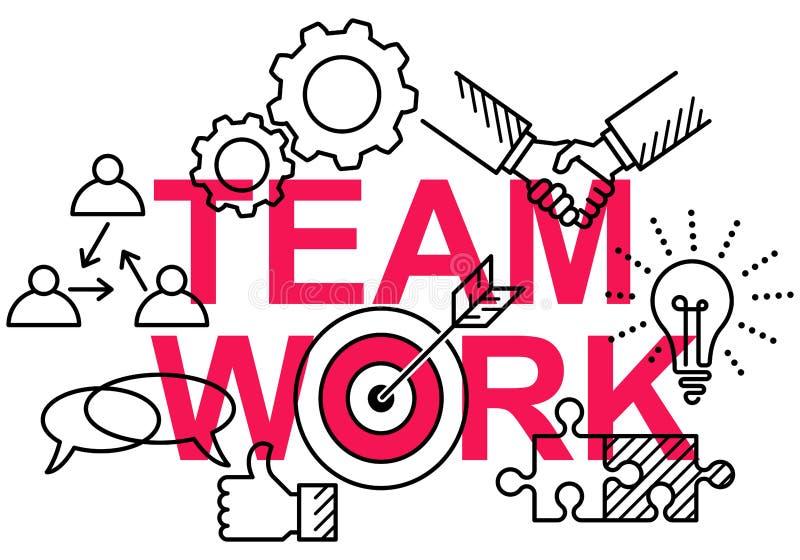 Eenvoudige schone conceptionele vlakke lijn vectorillustratie van bedrijfspictogrammen op woordgroepswerk royalty-vrije illustratie