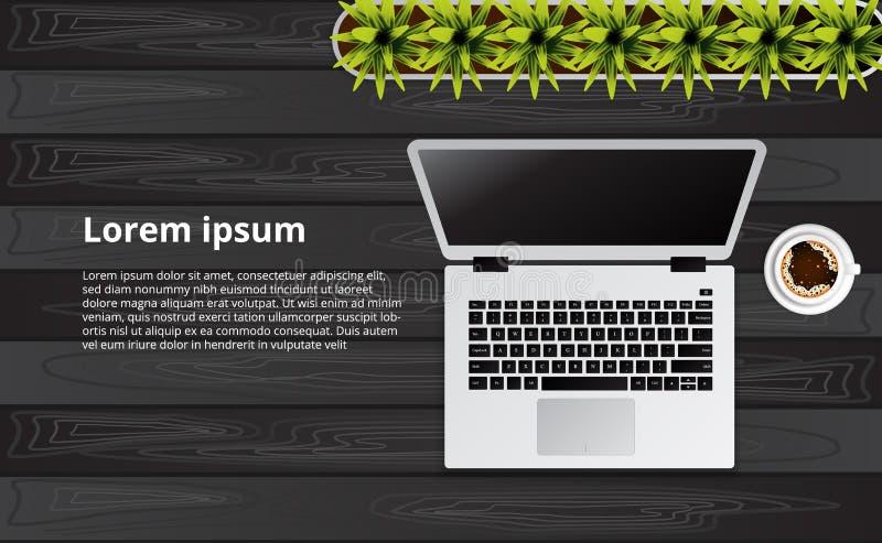 Eenvoudige schone laptop hoogste mening over het houten bureau met installatie stock illustratie