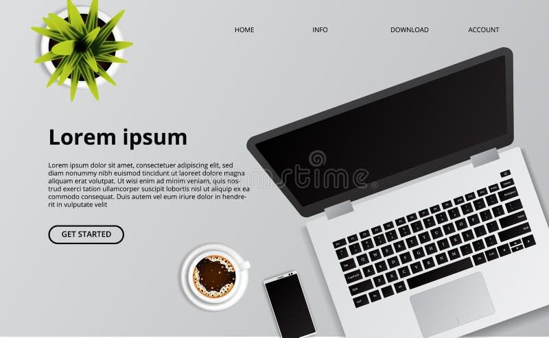 Eenvoudige schone laptop op het bureau met telefoon, koffie, en installatieillustratie stock illustratie