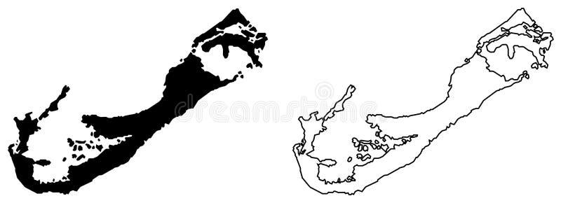 Eenvoudige slechts scherpe hoekenkaart van de vectortekening van de Bermudas Merca royalty-vrije illustratie
