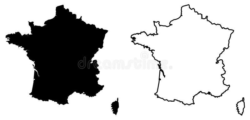 Eenvoudige slechts scherpe hoekenkaart van de vectortekening van Frankrijk Mercat royalty-vrije illustratie