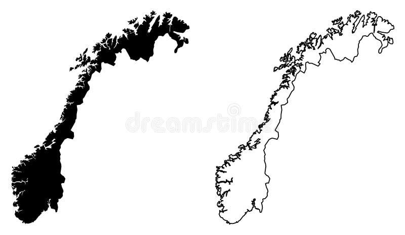 Eenvoudige slechts scherpe hoekenkaart van de vectortekening van Noorwegen Mercat vector illustratie