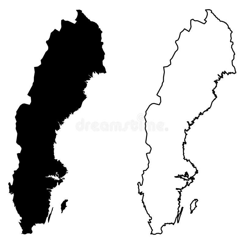 Eenvoudige slechts scherpe hoekenkaart van de vectortekening van Zweden Mercat vector illustratie