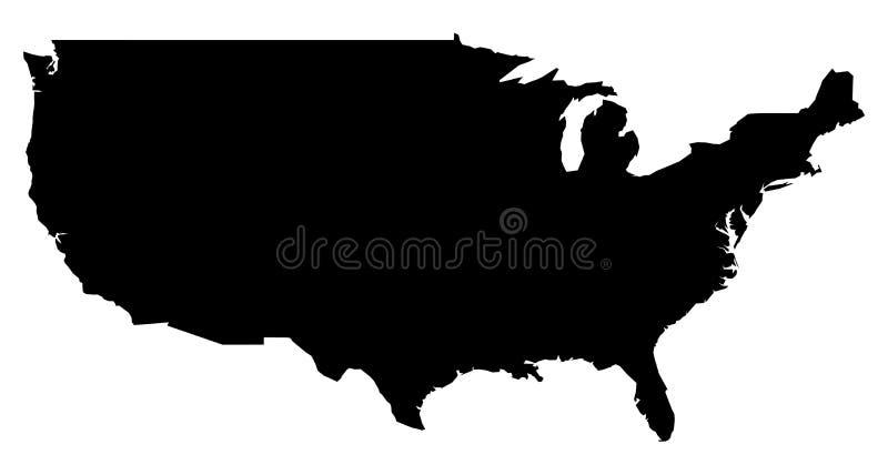 Eenvoudige slechts scherpe hoekenkaart van Verenigde Staten zonder Alaska stock illustratie