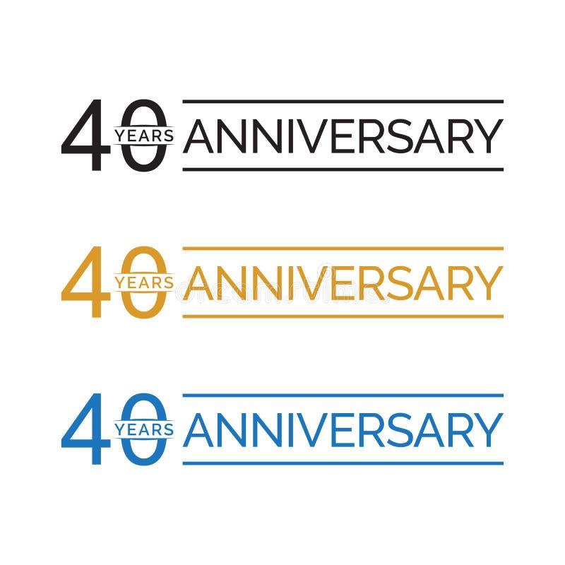 Eenvoudige 40ste het embleemvector van verjaardagsjaren blauwe zwarte gouden kleur vector illustratie