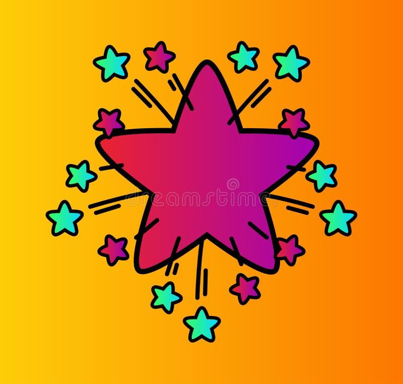 Eenvoudige symbool explosieve ster met ontspruitende sterren royalty-vrije illustratie