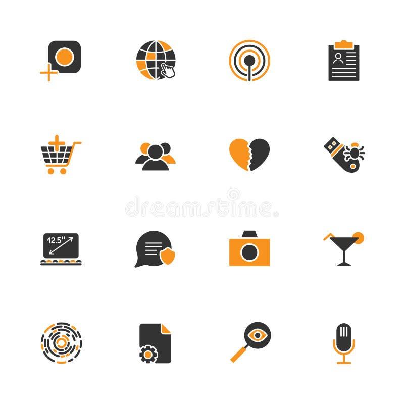 Eenvoudige UI-pictogrammen voor app, plaatsen, programma's Verschillende UI-pictogrammen Eenvoudige pictogrammen op een witte ach vector illustratie