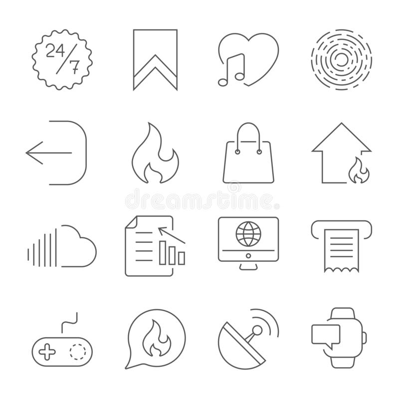 Eenvoudige UI-pictogrammen voor app, plaatsen, programma's Verschillende UI-pictogrammen Eenvoudige pictogrammen op witte achterg royalty-vrije illustratie