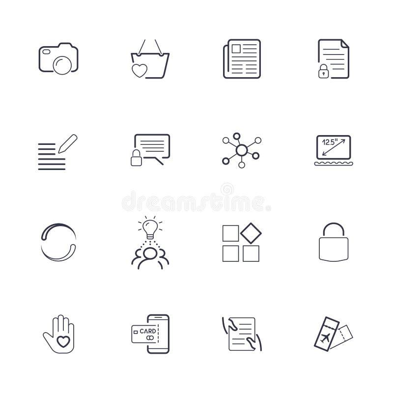 Eenvoudige UI-pictogrammen voor app, plaatsen, programma's Verschillende UI-pictogrammen Eenvoudige pictogrammen op witte achterg stock illustratie
