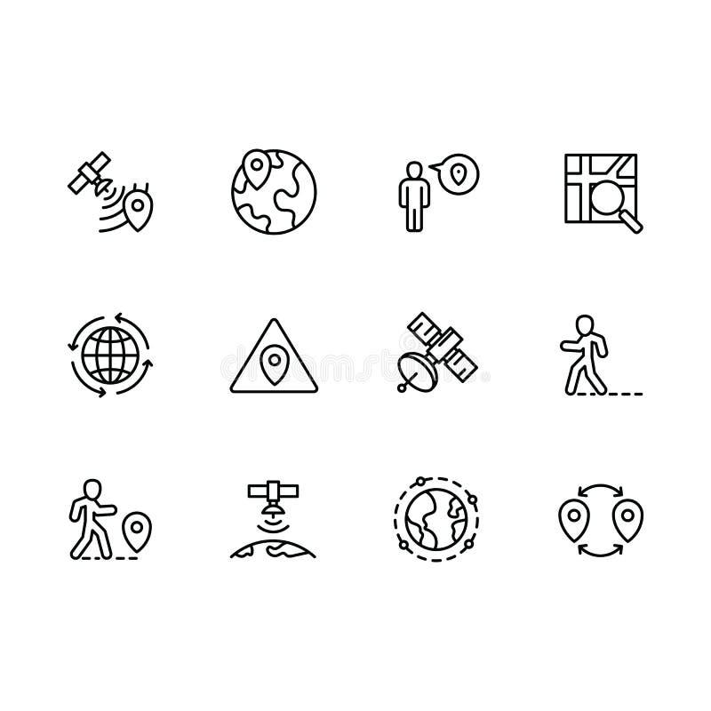 Eenvoudige vastgestelde kaartwijzer, navigatie, bol, reis, pictogram van de plaats het vectorlijn Bevat dergelijke pictogrammenka vector illustratie