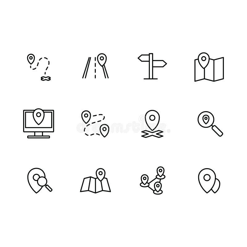 Eenvoudige vastgestelde kaartwijzer, navigatie, pictogram van de plaats het vectorlijn Bevat dergelijke pictogrammenpijlen, kaart royalty-vrije illustratie