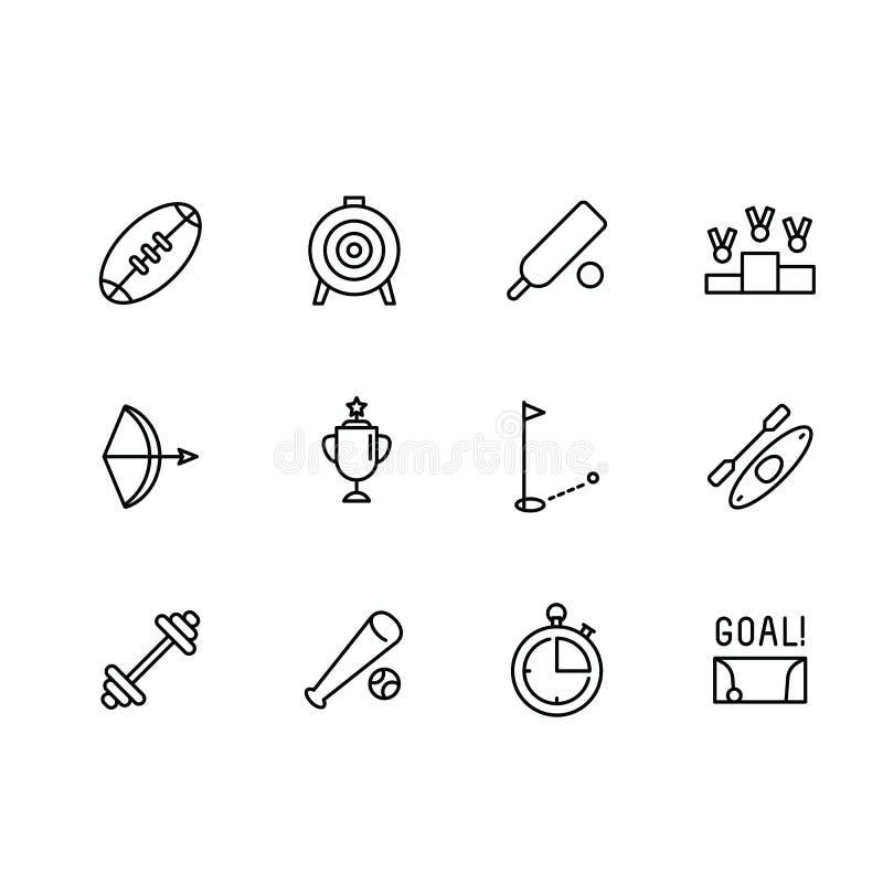 Eenvoudige vastgestelde sport en het actieve pictogram van de levensstijl vectorlijn Bevat dergelijke pictogram Amerikaanse voetb stock illustratie