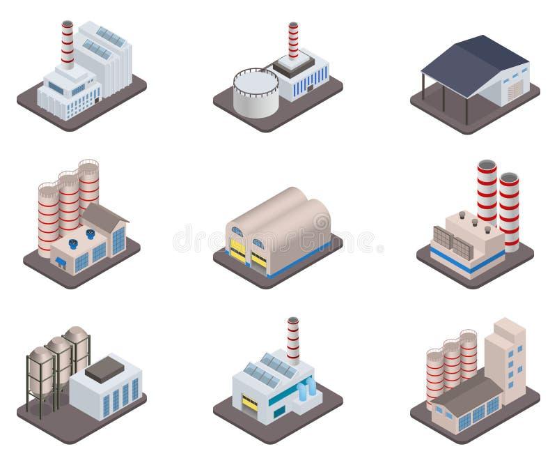 Eenvoudige vector isometrische van fabrieksinstallaties en fabrieken pictogramreeks vector illustratie