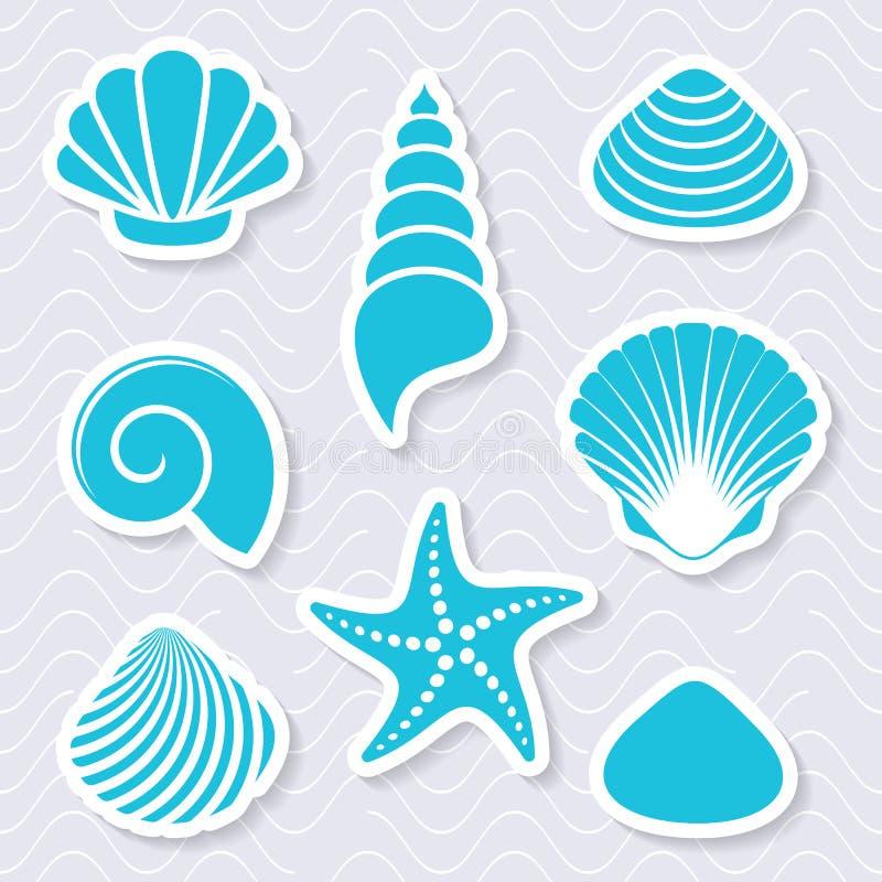 Eenvoudige vector overzeese shells en zeester stock illustratie
