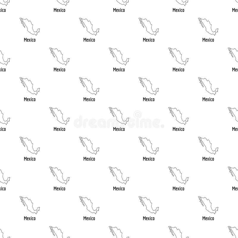 Eenvoudige vector van de de kaart de dunne lijn van Mexico stock illustratie