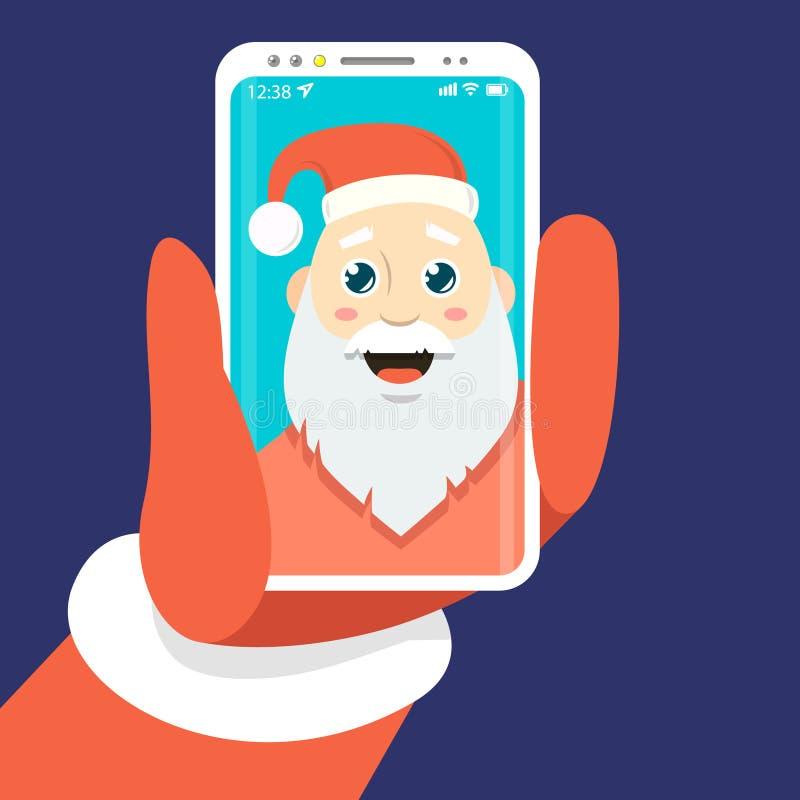 Eenvoudige vector vlakke kunstillustratie van een beeldverhaal Santa Claus dat zich fotografeert royalty-vrije illustratie