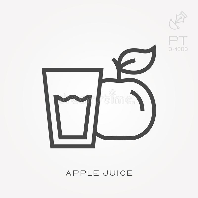 Eenvoudige vectorillustratie met capaciteit te veranderen Het appelsap van het lijnpictogram stock illustratie