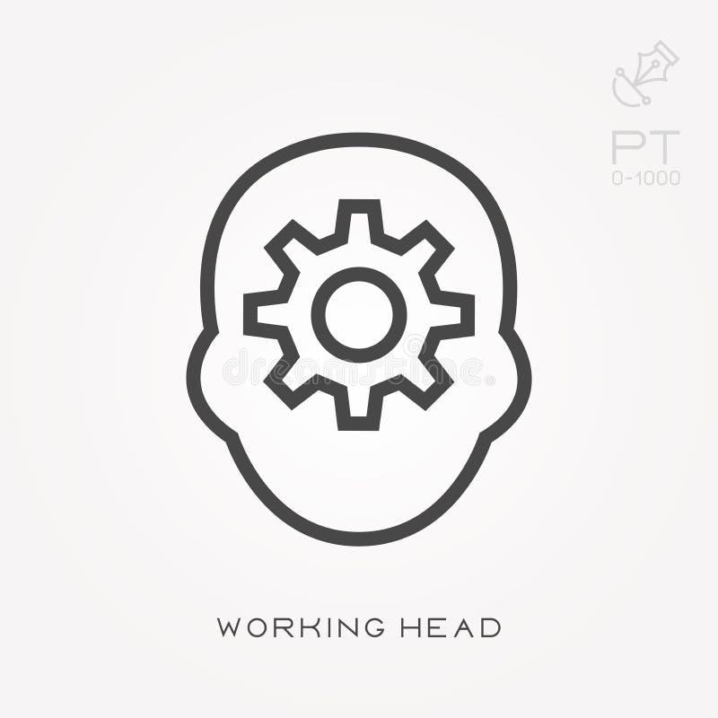 Eenvoudige vectorillustratie met capaciteit te veranderen Het werkende hoofd van het lijnpictogram stock illustratie