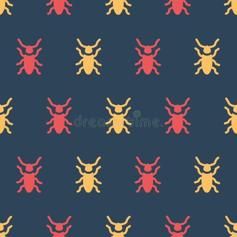 Eenvoudige vectorillustratie met capaciteit te veranderen Kleurenpatroon met kevers stock illustratie