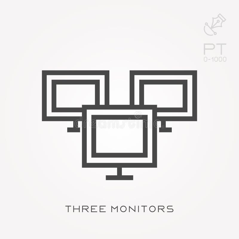Eenvoudige vectorillustratie met capaciteit te veranderen Lijnpictogram drie monitors royalty-vrije illustratie