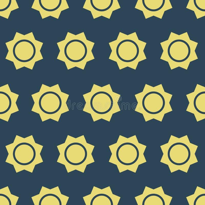 Eenvoudige vectorillustratie met capaciteit te veranderen Naadloos patroon met zon stock illustratie