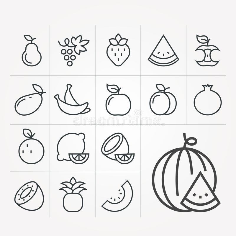 Eenvoudige vectorillustratie met capaciteit te veranderen Vectorfruitpictogrammen stock illustratie