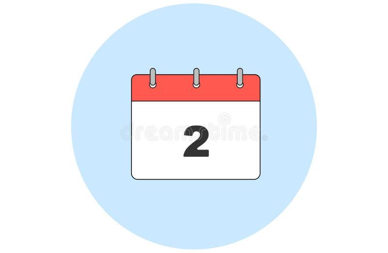 Eenvoudige vectorkalender DAG 2 Elke maand royalty-vrije stock afbeeldingen