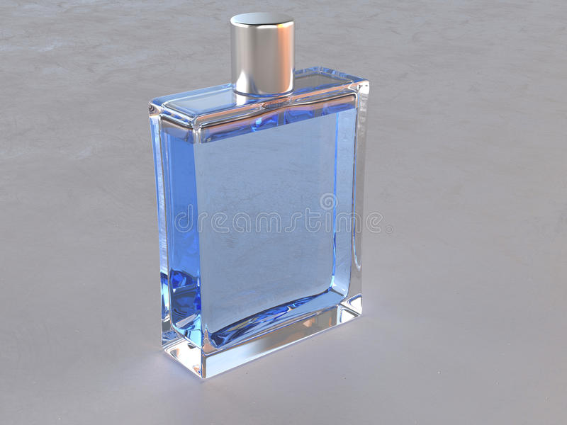 Eenvoudige vierkante blauwe parfumfles stock afbeelding