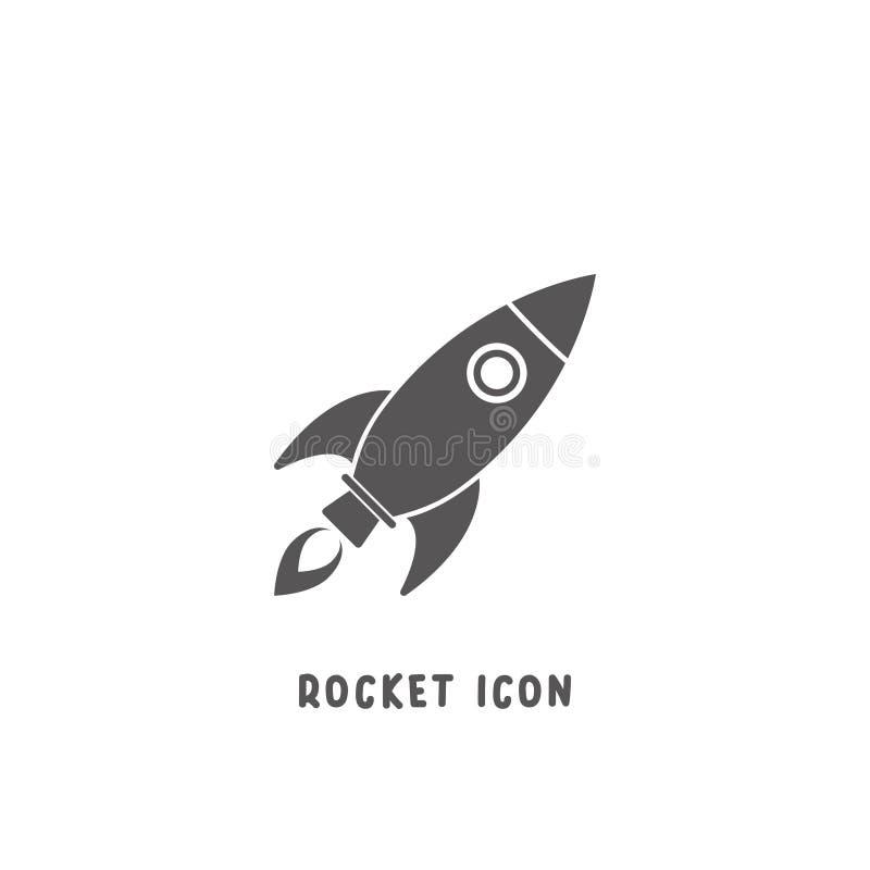 Eenvoudige vlakke de stijl vectorillustratie van het raketpictogram vector illustratie
