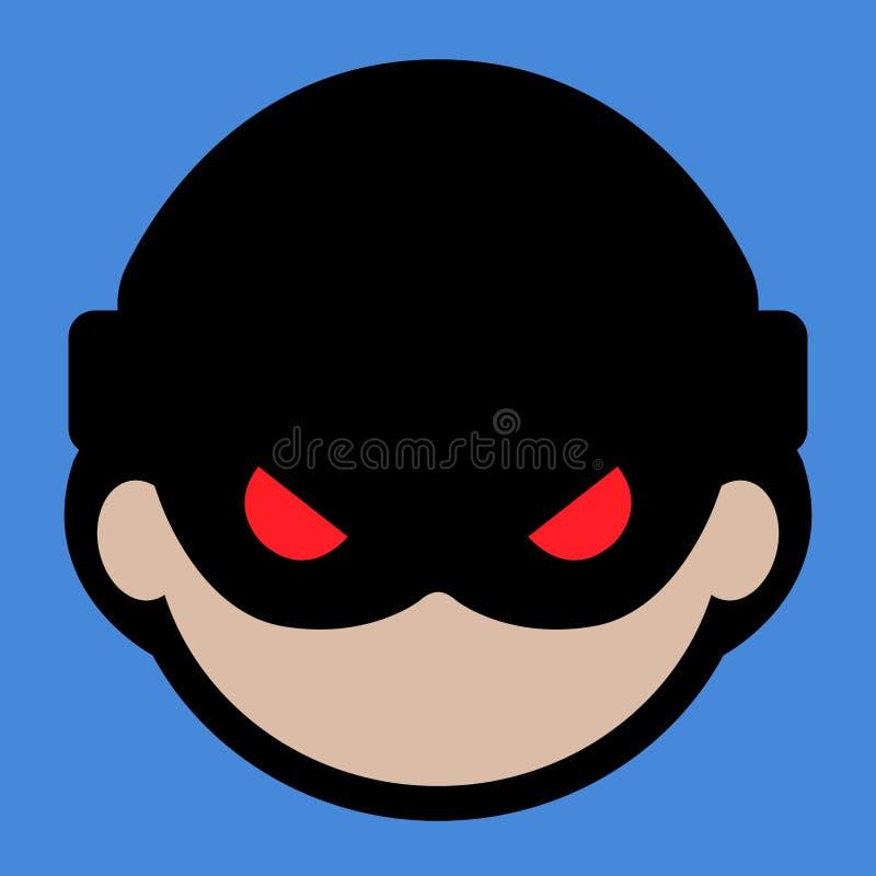Eenvoudige, vlakke hakker in een hoedenpictogram Op een blauwe achtergrond stock illustratie