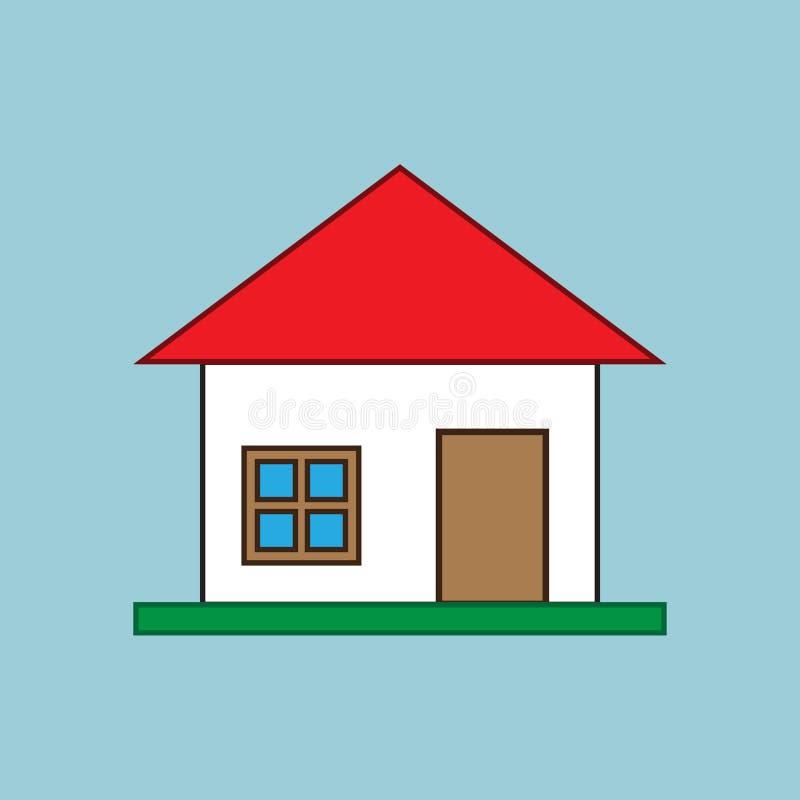 Eenvoudige vlakke huisillustratie stock illustratie