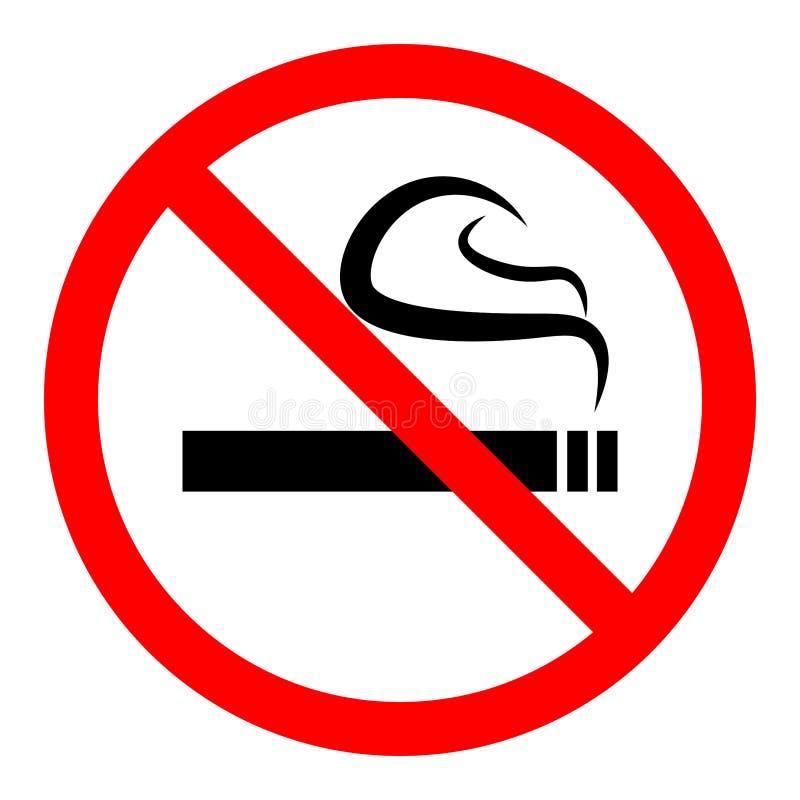 Eenvoudige, vlakke ` Nr - rokend toegestaan hier `-teken Geïsoleerd op wit royalty-vrije illustratie