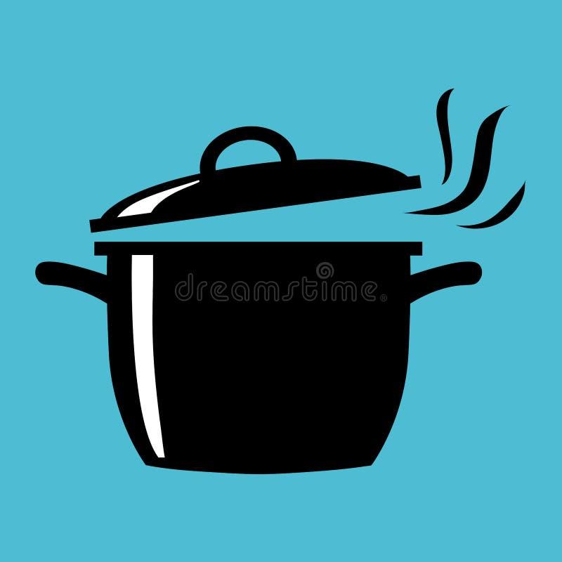 Eenvoudige, vlakke, zwart-witte kokende pot met de illustratie van het stoom die uit silhouet komen royalty-vrije illustratie