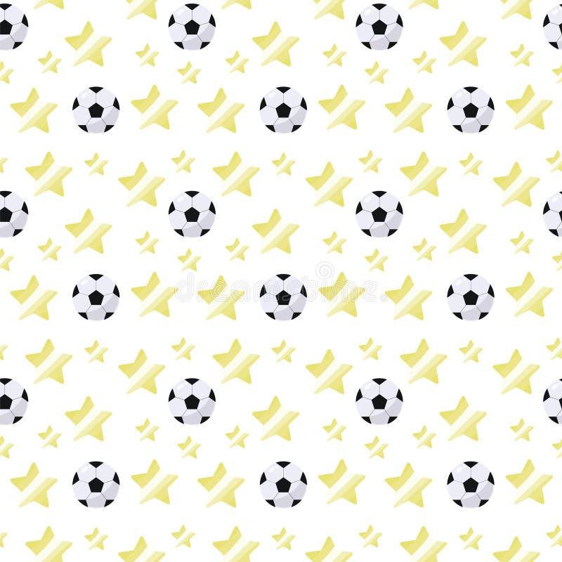 Eenvoudige volumetrische voetbalbal met een glans en gele sterren die licht naadloos sportpatroon op een witte achtergrond herhal stock illustratie