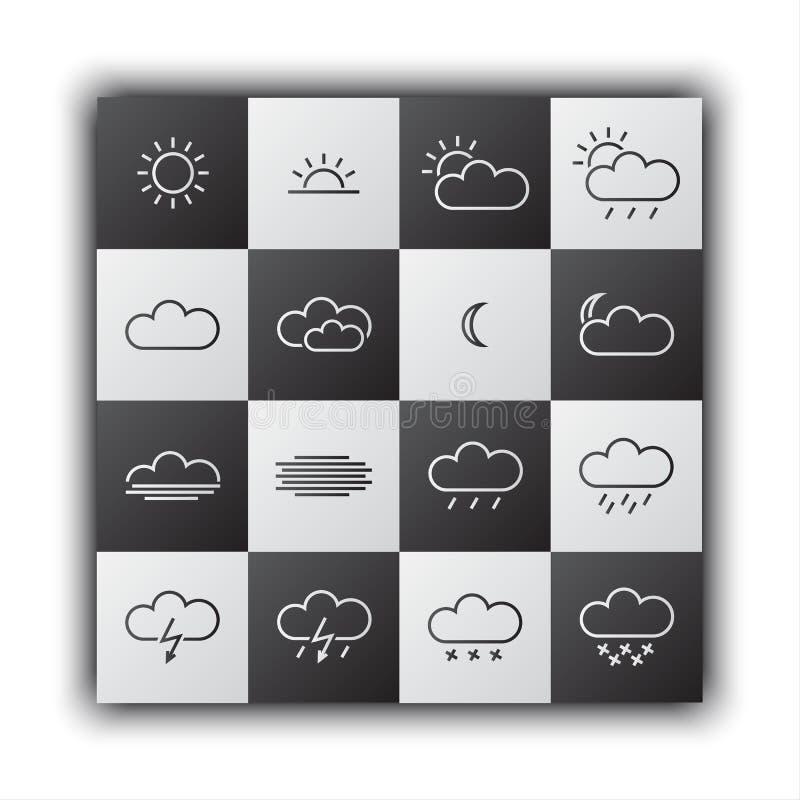 Eenvoudige weerpictogrammen, zwart-wit vlak ontwerp stock illustratie
