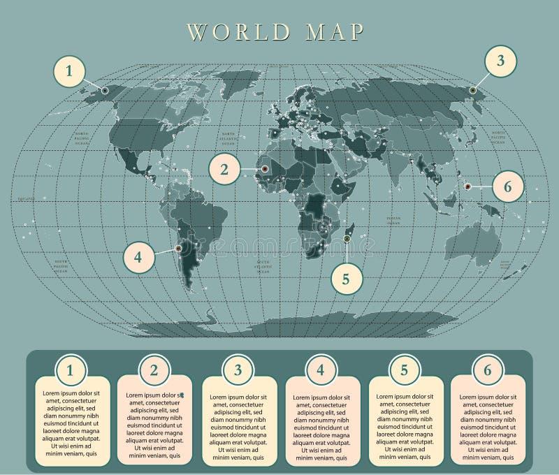 Eenvoudige wereldkaart met kapitalen Vlak ontwerp met net, etiket en legende op de kaart royalty-vrije illustratie