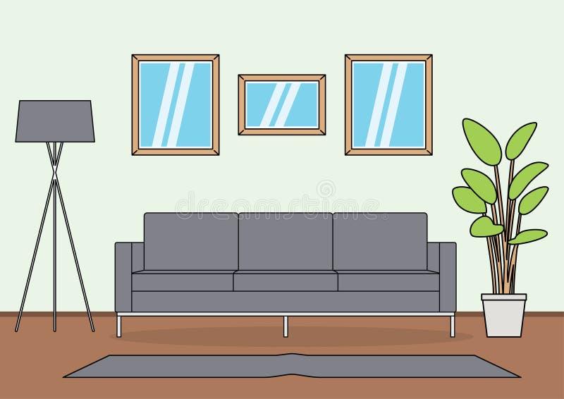 Eenvoudige Woonkamervector vector illustratie