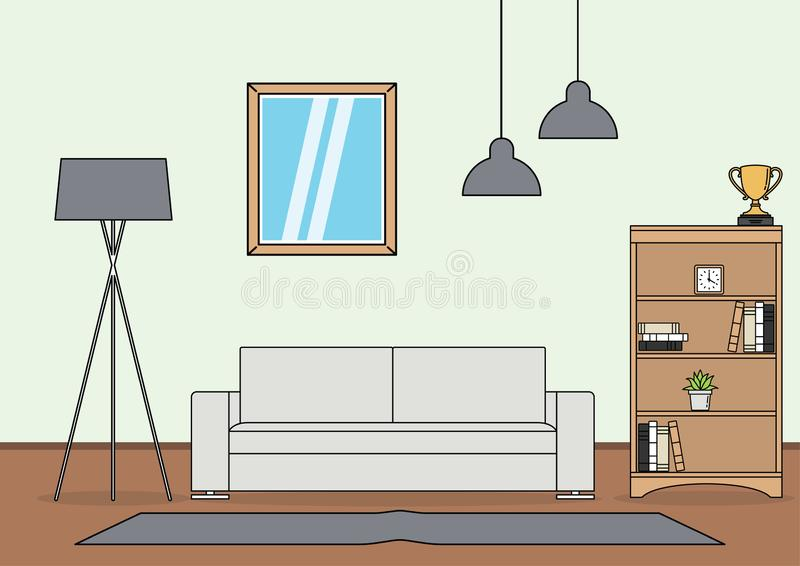 Eenvoudige Woonkamervector stock illustratie