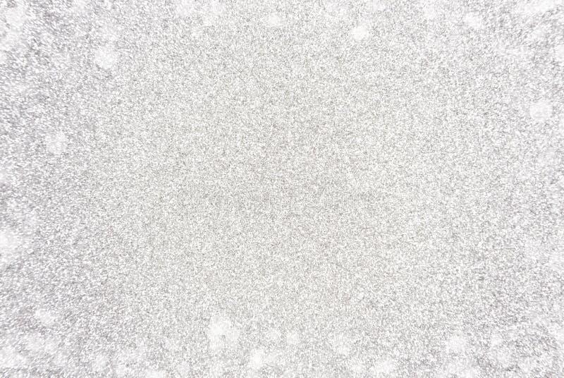 Eenvoudige Zilveren Glittle-Achtergrond met een Witte Lichte Grens vector illustratie