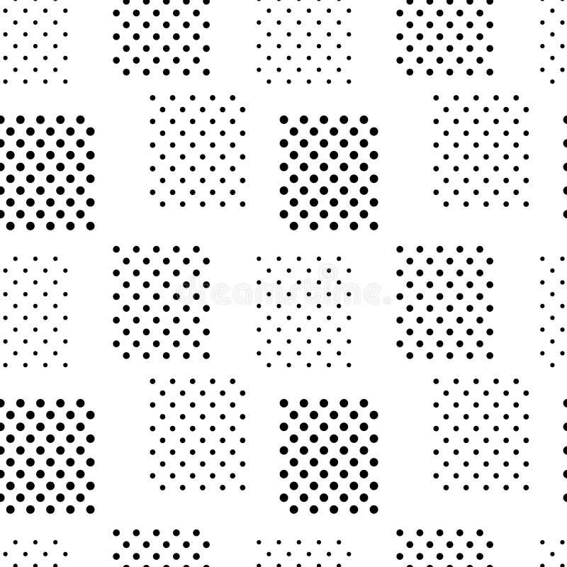 Eenvoudige zwart-wit doted het naadloze patroon van vierkantengeo, vector stock illustratie