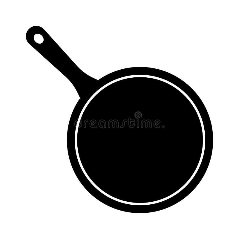 Eenvoudige, zwart-witte kokende pan/koekepanillustratie Geïsoleerd op wit stock illustratie