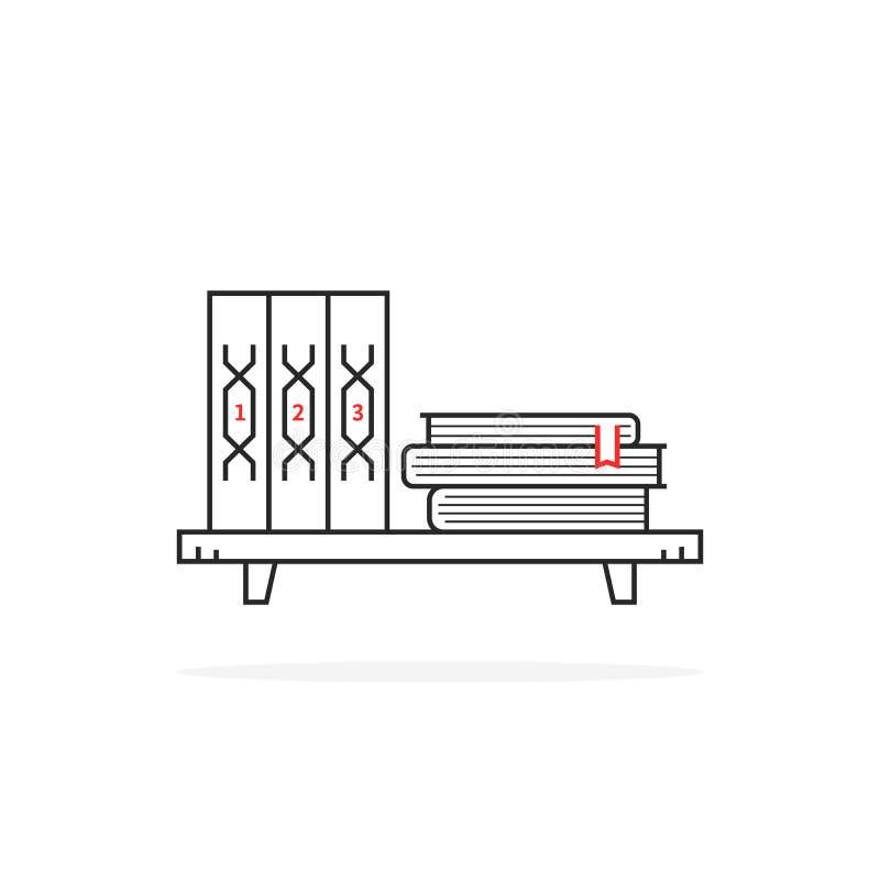 Eenvoudige zwarte dunne lijnboekenplank op wit royalty-vrije illustratie