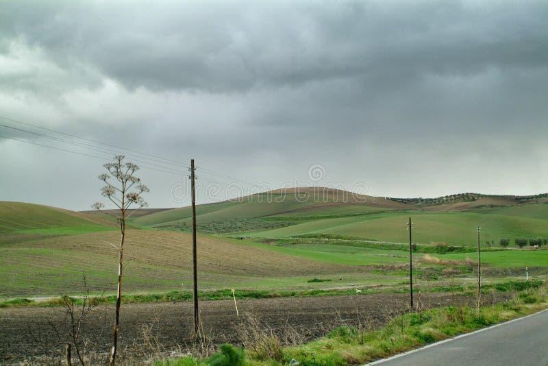 Eenzaam Art Nature Hills onder bewolkte hemel stock afbeeldingen
