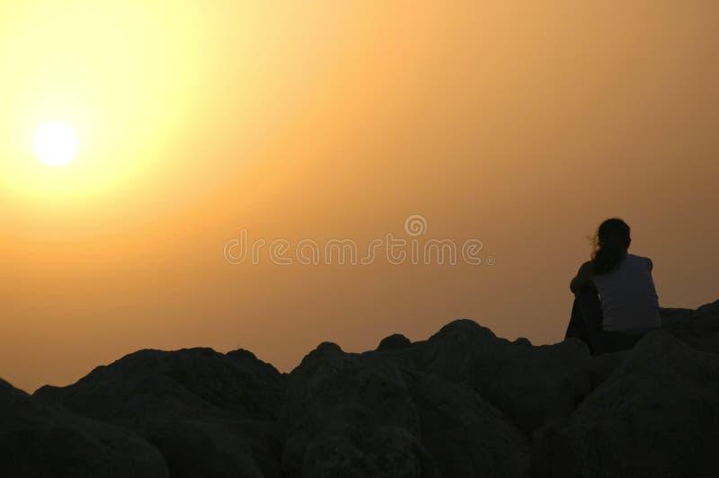 Eenzaam Bij Zonsondergang Royalty-vrije Stock Foto