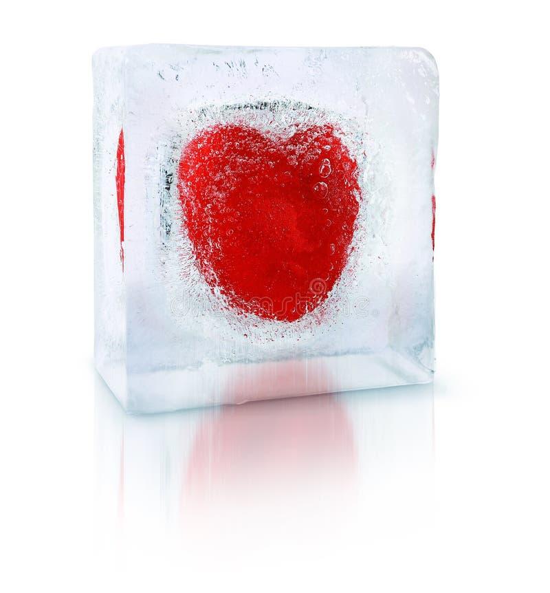 Eenzaam hart van ijs stock afbeelding