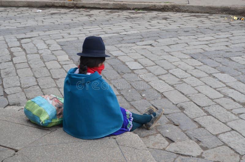 Eenzaam meisje op Riobamba, Ecuador royalty-vrije stock foto