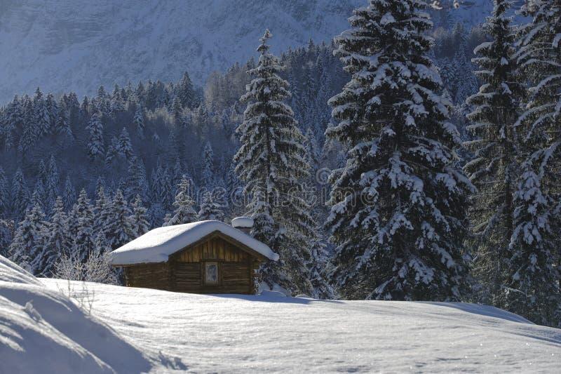 Eenzaam plattelandshuisje in de winter stock foto